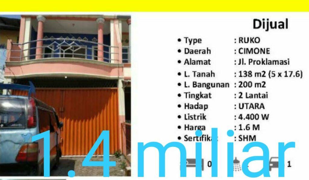 Ruko Cimone 1.4 miliar dijual di Citra Garden Cashrumah 087875863425