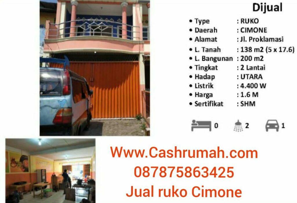 Ruko Cimone 1.4 miliar dijual di Lippo Mal Cashrumah 087875863425