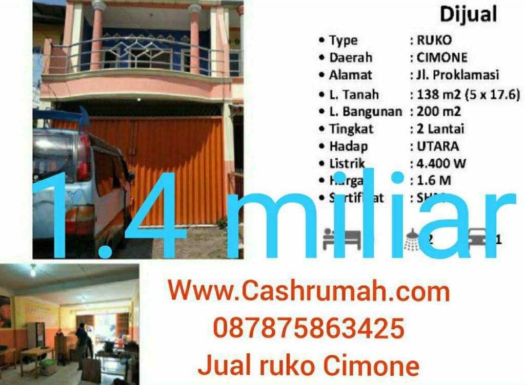Cashrumah Jual Ruko Cimone Murah 1.4m nego di Jkt 087875863425