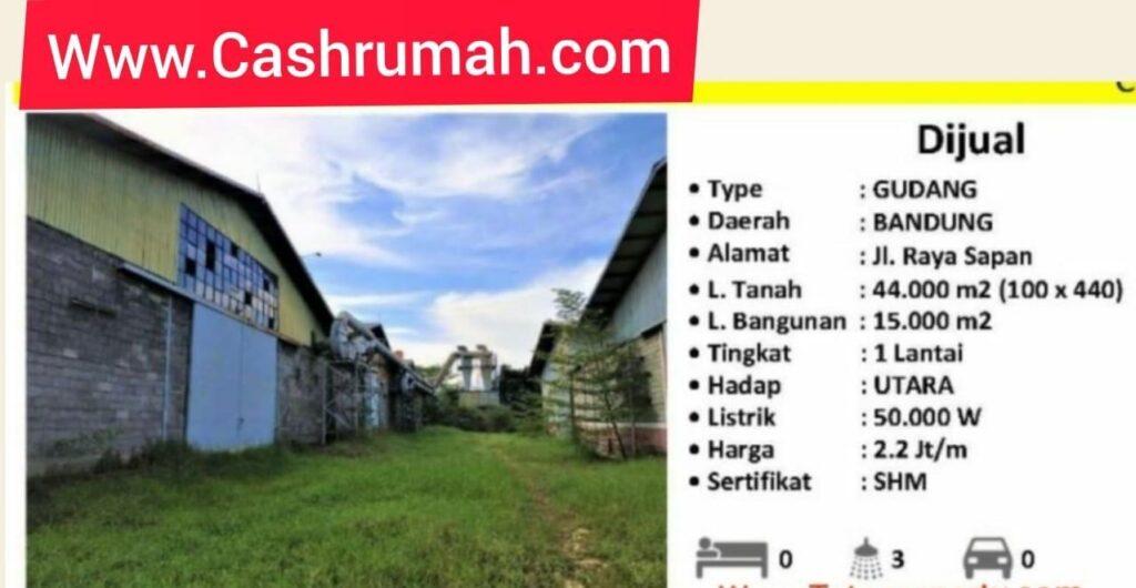 Cashrumah Jual Gudang Sumarecon Bandung 4.4ha Tato 087875863425
