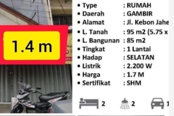 Jual Rumah Kebon Jahe 1.4 miliar di Grosir Tanah Abang 087875863425