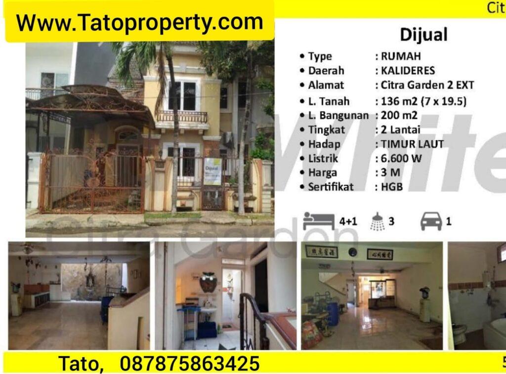Jual Rumah Citra Garden 2 Ext Kalideres Tato Cashrumah 087875863425